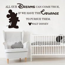 Cartoon Mickey Mouse Dream Come True Wall Sticker Baby Nursery Bedroom Inspirational Quote Decal Kids Room