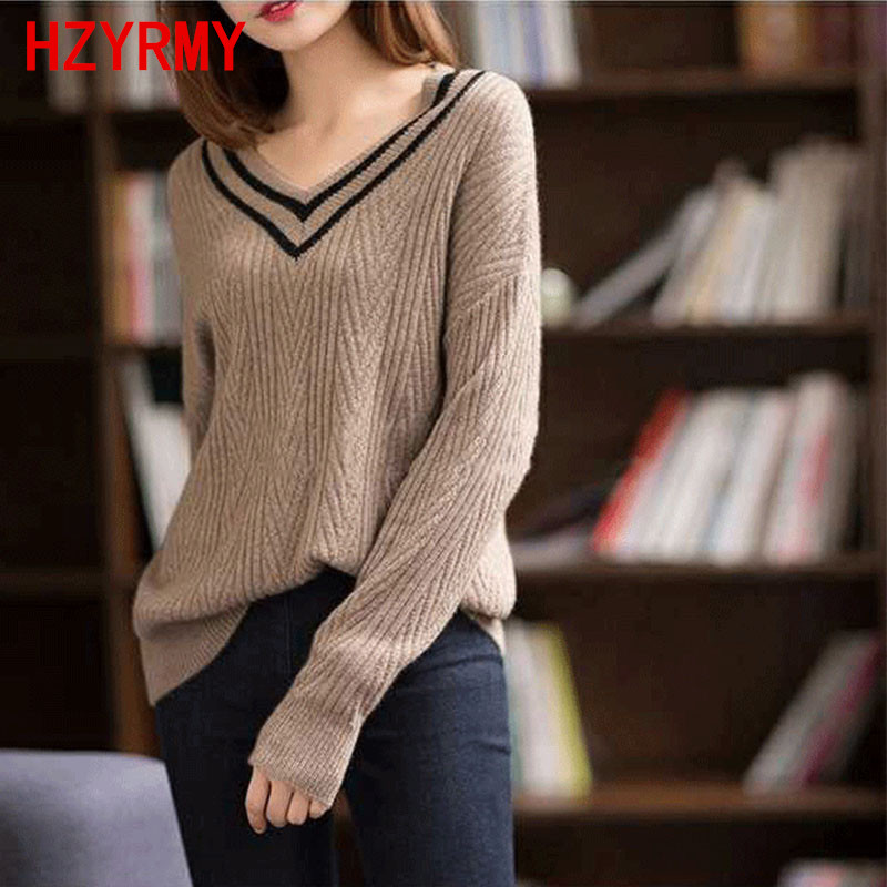 HZYRMY Autumn New Women's V-Neck Pure Cashmere Sweater Fashion Large size Knit Pullovers Winter Loose Warm Wild Female Sweater
