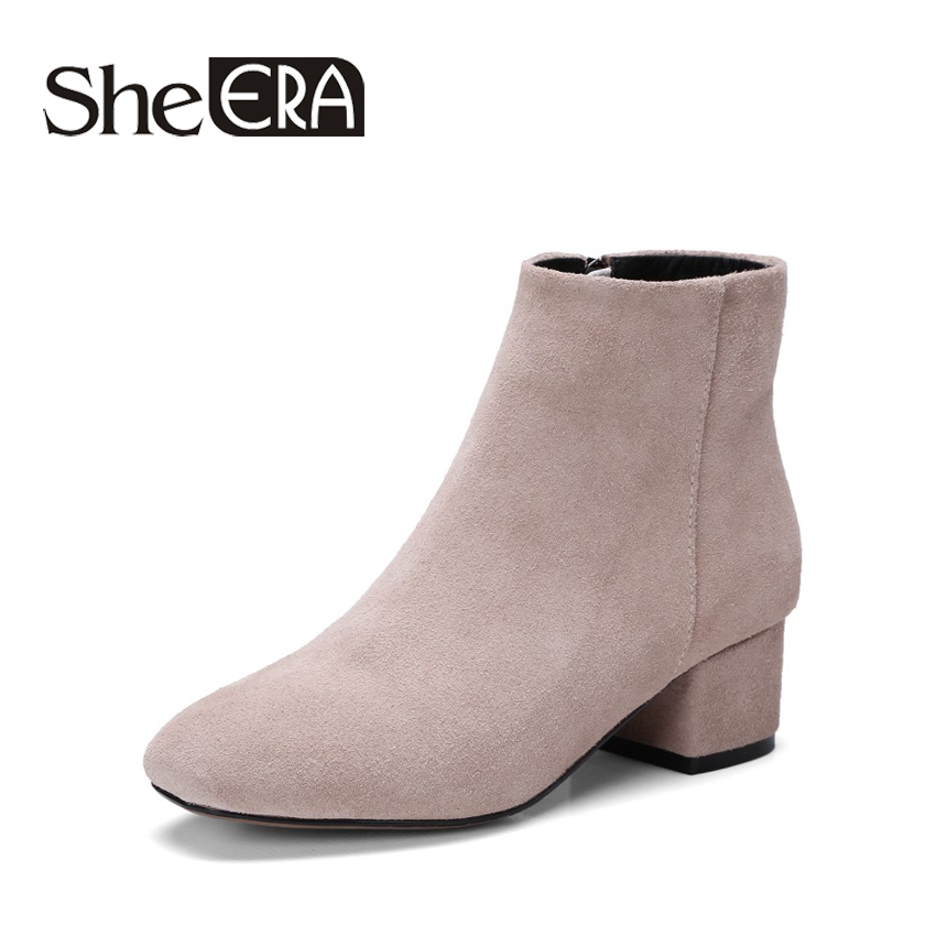 Autumn Winter 2017 Fashion Women Boots Pointed Toe Flock Women Ankle Boots Thick Heel Women Shoes zapatos mujer sapato feminino famiao women boots sexy high heel zapatos mujer tacon 2017 gary black buckle ankle boots for women shoes pointed toe winter