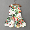 Hot Baby Vest Dress Girls Clothes Strawberry Butterfly Vintage Floral Dresses with Hair Hoop Sleeveless O-Neck Vestidos Infantis