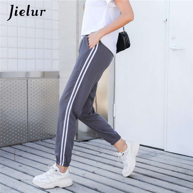 Dependable Jielur Fasshion Female Trousers Casual Hipster Street Stripe Korean Bf Pants Women Cool College Style Chic Leisure Harem Pants
