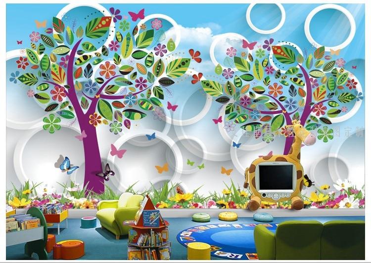 Abstract bedroom wallpaper large mural trees children room ...