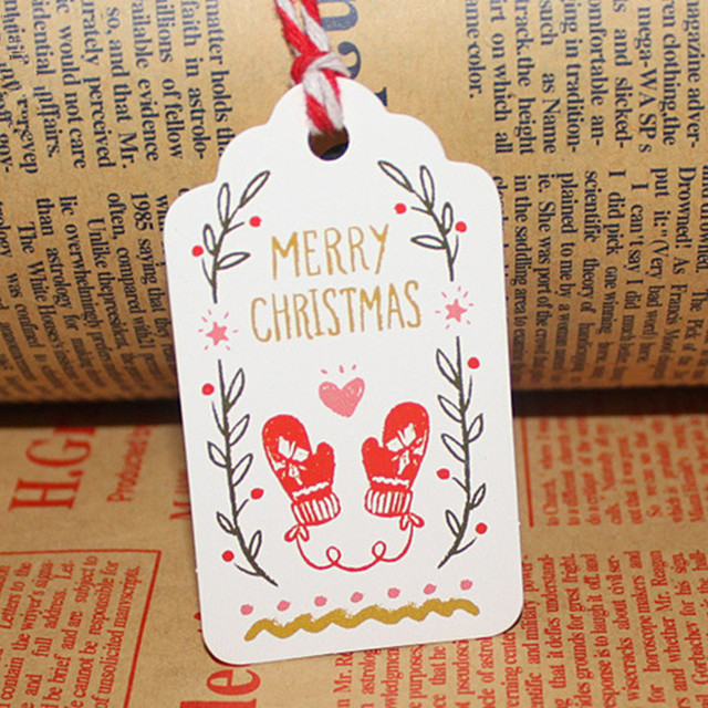 50pcslot merry christmas diy crafts gifts paper tags with string new year navidad party