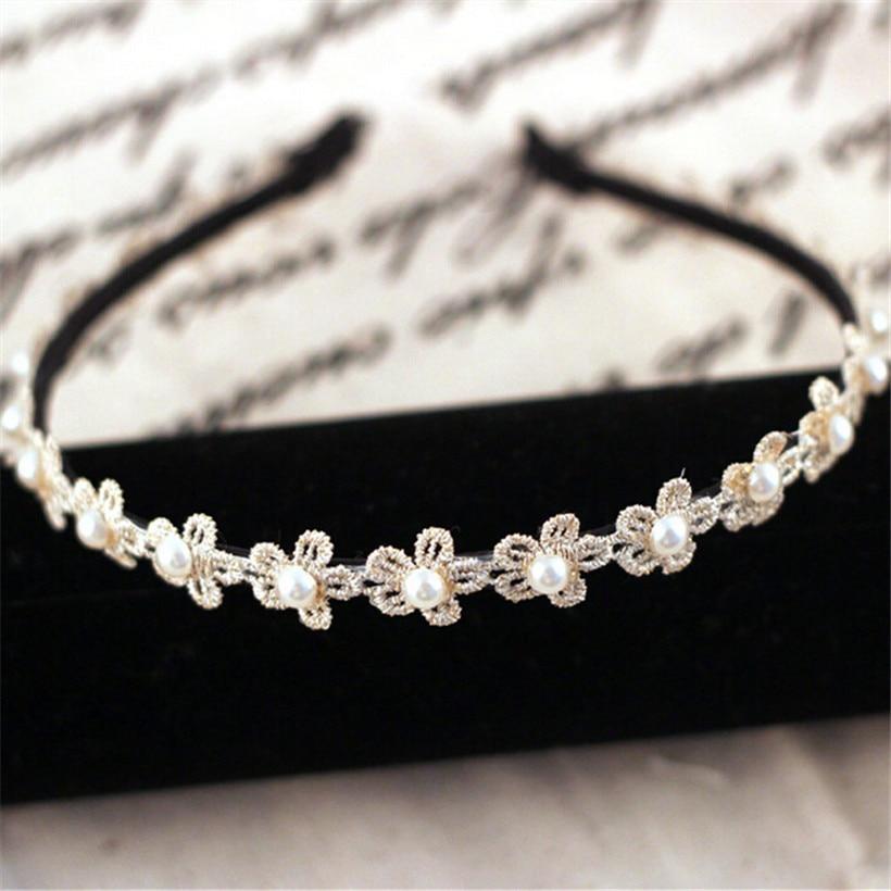 tenjshunzhu moda diadema cinta de boda hecho a mano flor de la perla nupcial del pelo