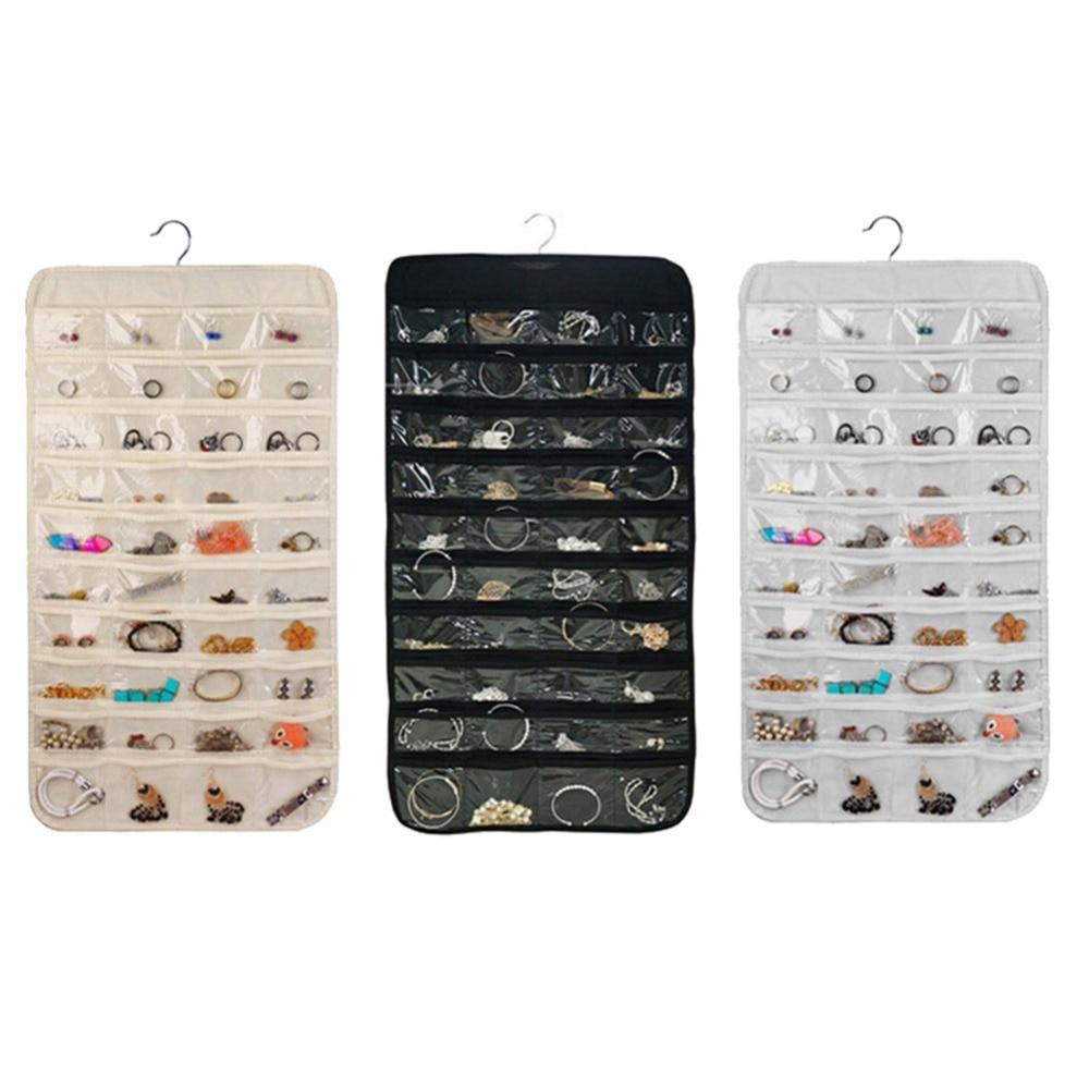 80 Grids Pockets/Set Organizadores Box Hanging Jewelry Organizer Display Earring Rings Bracelets Storage Bag Hanger
