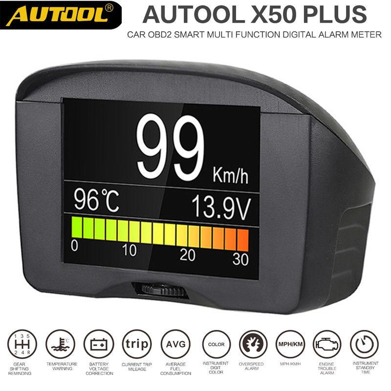 AUTOOL X50 Plus Multi-Función de Coche OBD Inteligente Medidor Digital Medidor de Temperatura del Agua de Alarma Pantalla del Medidor de Voltaje Digital de Velocidad