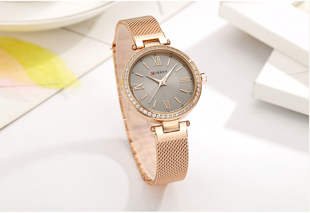 CURREN 9011 Mesh Stainless Steel Analog Watch For Women  14