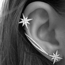 1 шт., Модный кристалл, циркониевый зажим, манжета для ушей, женская, панк, обруч, хрящи, серьги, ювелирное изделие, снежинка, клипсы, серьги, стразы
