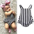 0-24 M Bebê Recém-nascido Bebes Meninas Roupas de Verão Sem Mangas Listrado Bodysuit Playsuit Um Pedaços Do Corpo de Algodão
