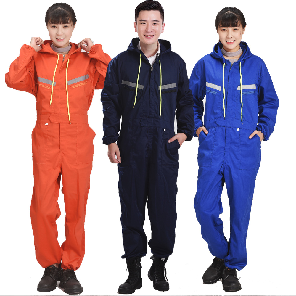 Men Women Coveralls Long Sleeve Hooded Reflective Strip -2838