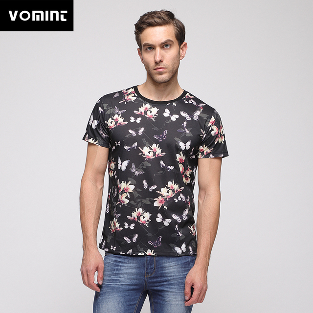 VOMINT 2019 Summer Wear Mens Digital Graphic Plant Flowers Printing Short Sleeve T-shirt Black Fashion Tshirt O6II2971
