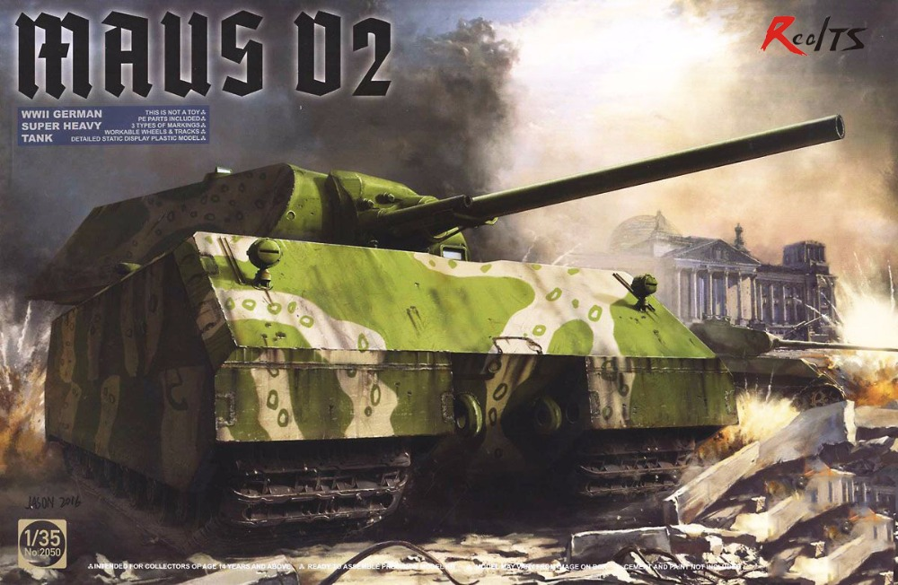 RealTS Takom 1:35 WWII German Super Heavy Tank Maus V2 - Plastic Model Kit #2050