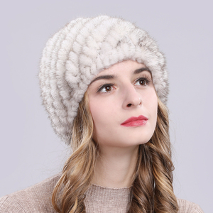 Image 2 - Russia New Winter Lady Natural Mink Fur Beanies Hat Knit Warm Striped Genuine Mink Fur Caps Women Good Elastic Real Mink Fur Hat