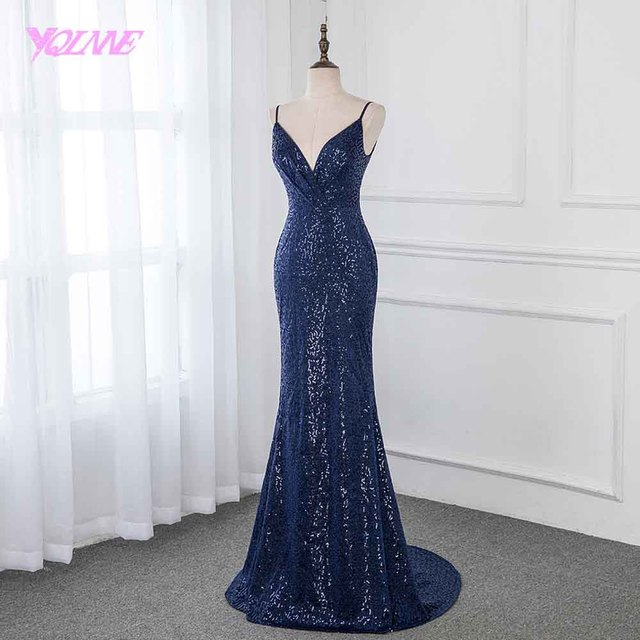 YQLNNE 2019 Navy Blue Long Prom Dresses Sequins Sleeveless Formal Evening Gown Dress Backless 1