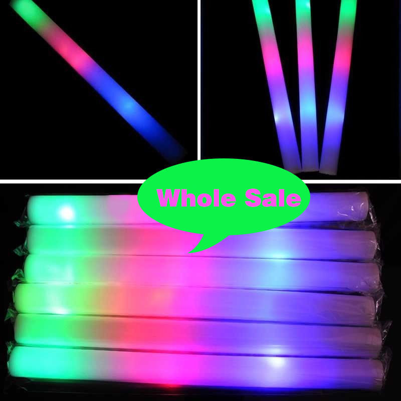 100lot Glow Sticks Light UP LED Foam Stick For Wedding Decoration Concert Wand Rally Party Cheer Stick Multi Color Flash Toy (3)