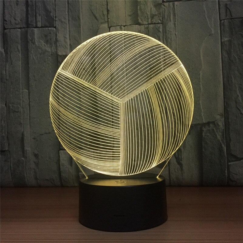 Новинка Волейбол 3D светодиодный ночник USB Настольный светильник 7 цветов красочные Ночные светильники для украшения дома лампы как игрушка ...