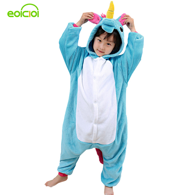 EOICIOI Pajamas for boys children's christmas pajamas Blue Pink Unicorn Baby girls sleepwear warm pyjamas kids Pegasus onesie