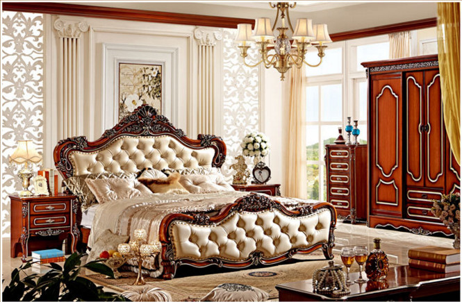 Solid Wood Bedroom Furniture. Luxury Middle East Style King Size ...