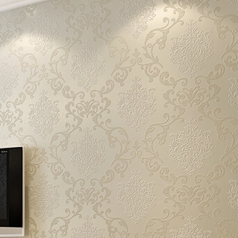 Beige / Blue / White / Yellow damask embossed textured ...
