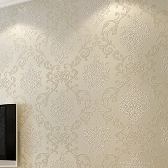 Beige Blue White Yellow Damask Embossed Textured Feature Wallpaper Roll Non Woven