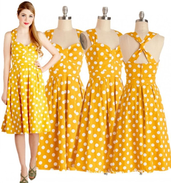 fb22b5870c810 Retro Vintage Style 50s Big Swing Polka Dot halter Pinup Rockabilly Dresses  Yellow Plus Size Sleeveless V-neck Ball Gown