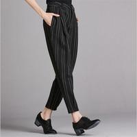 2017 New Winter Thickening Plus Size Casual Women Pencil Pants Elastic Slim Harem Capris Black White Stripe Womens Leggings Trou