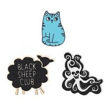 Cartoon Cat Little Sheep Octopus for Woemn lovely Brooch Animal Badge Enamel Pins Hijab Denim Jackets Backpack Jewel gifts