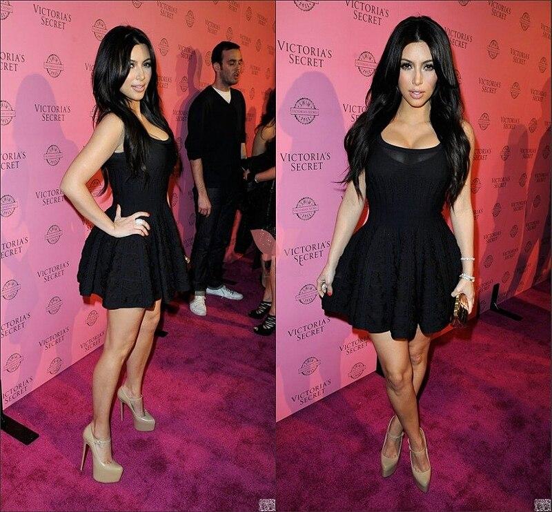 2015 de la celebridad vestidos negro vestidos Kim Kardashian vestido ...