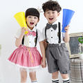 2015 new casual summer girls boys crop top brother and sister suspender and bow tie 2 pcs clothing  set costumes twins for kids
