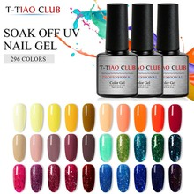 T-TIAO CLUB UV Gel Nail Polish 7ml Holographic Glitter 296 Color Lacquer Soak Off Varnish