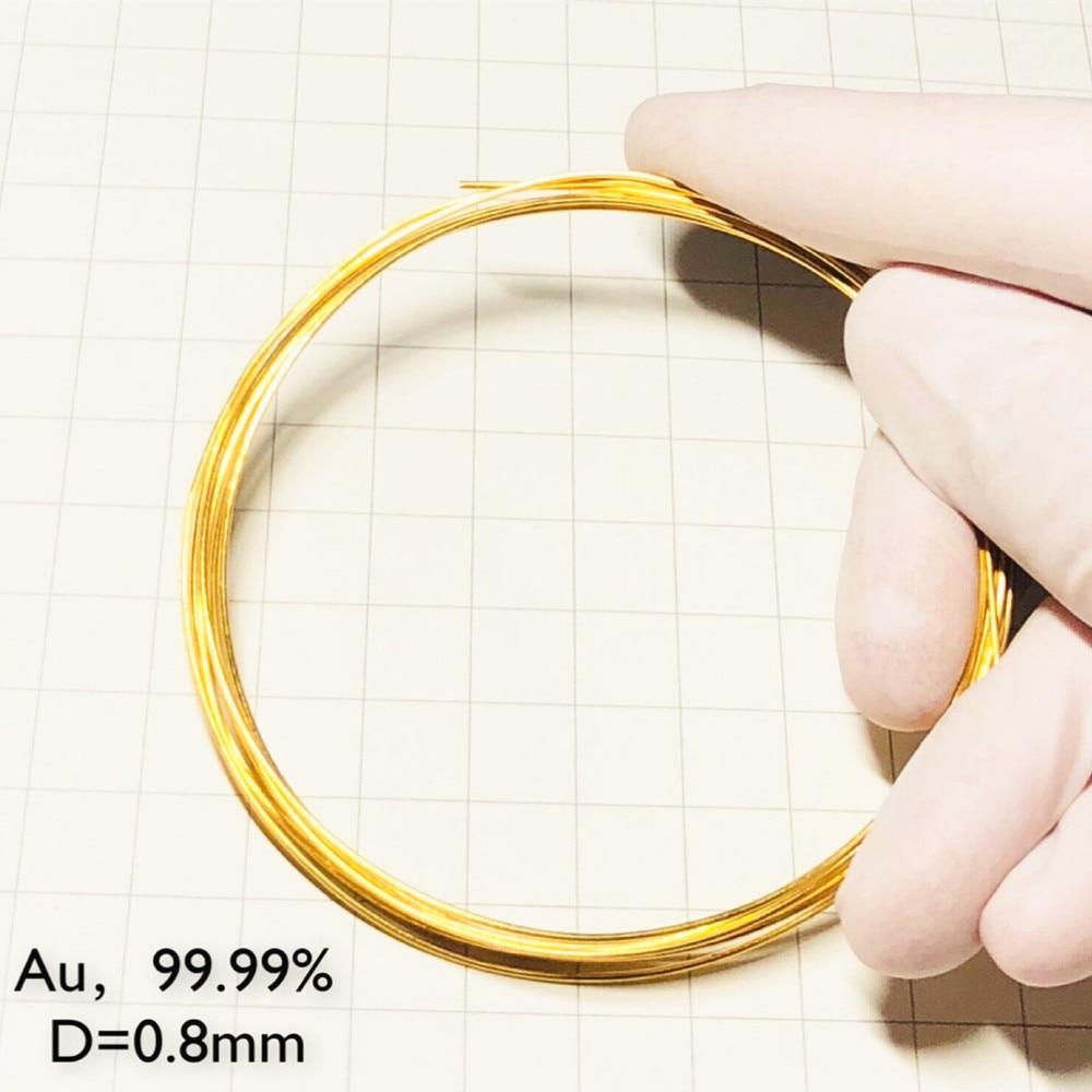 Gold Wire Pure 99.99% 24K Diameter 0.3 0.4 0.5 0.8 0.9 1mm Au Cable String 23.9988Karat 0-0.02mm Tolerance
