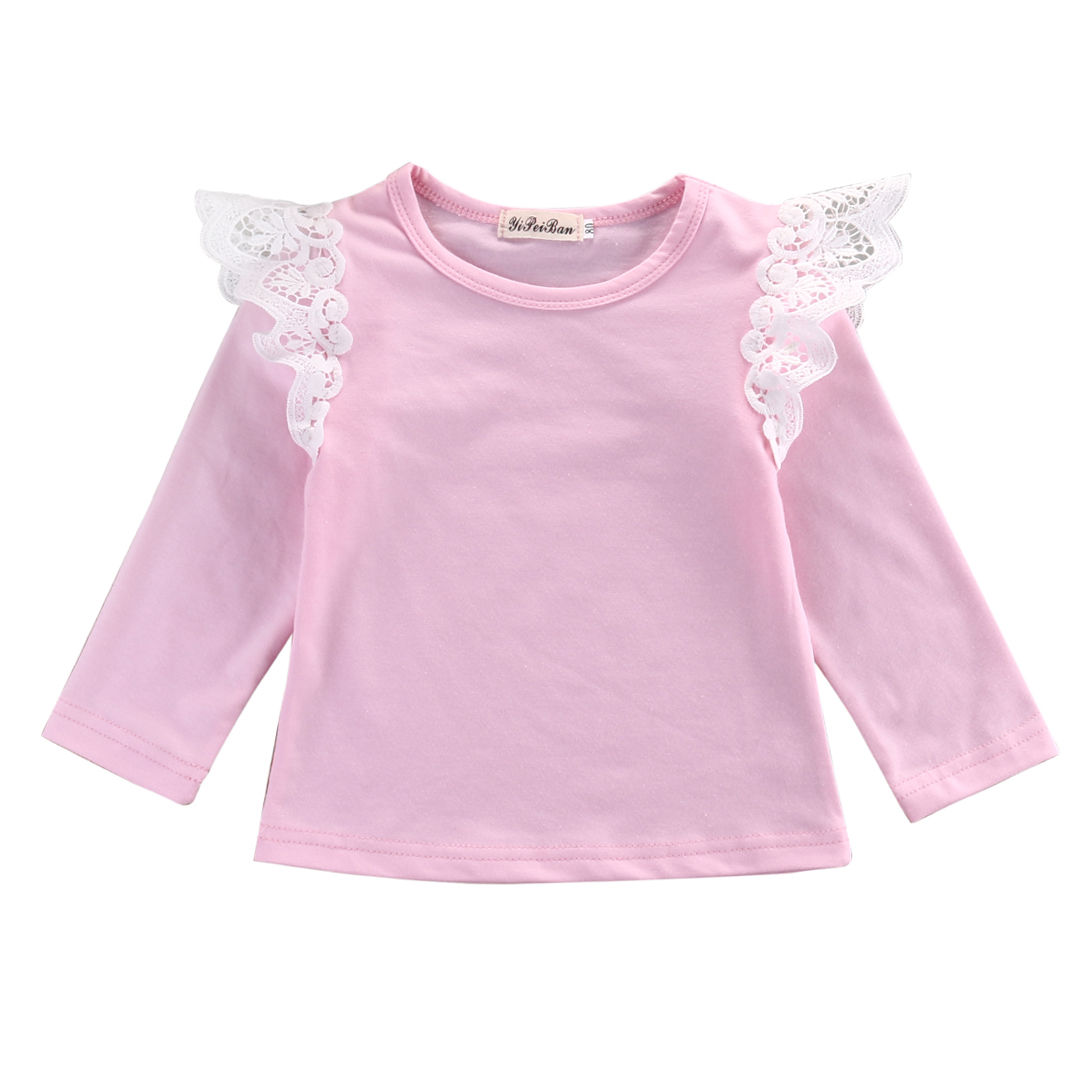 Long Sleeve Baby Girl Pink Pink Angel Autumn Cloths