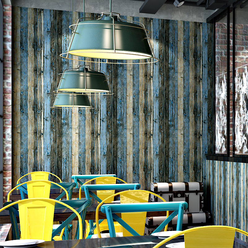 Vintage imitation wood grain 3d wallpaper Personality restaurant cafe store background wall paper PVC 0 53x9 5m wall sticker in Wall Stickers from Home Garden