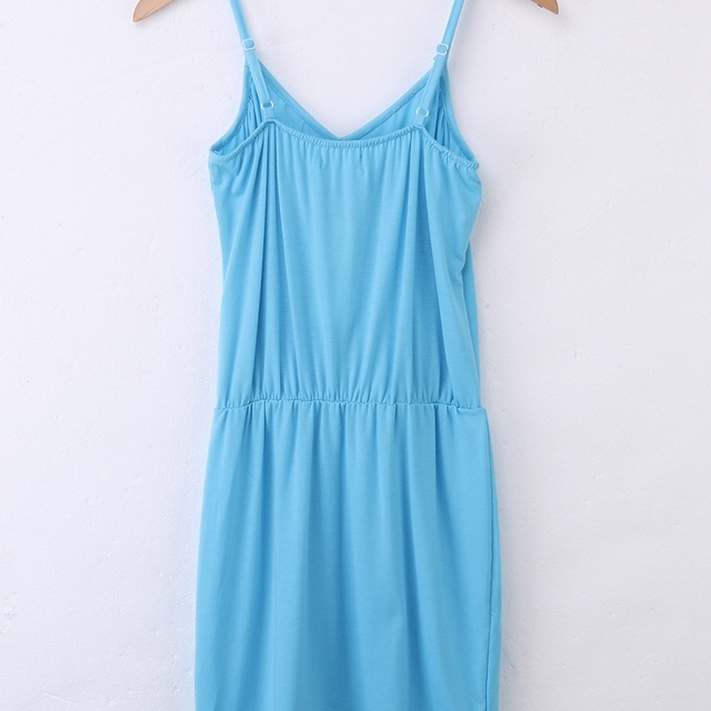 Women Sexy Summer Sleeveless Spaghetti Strap Evening Party Beach Dress