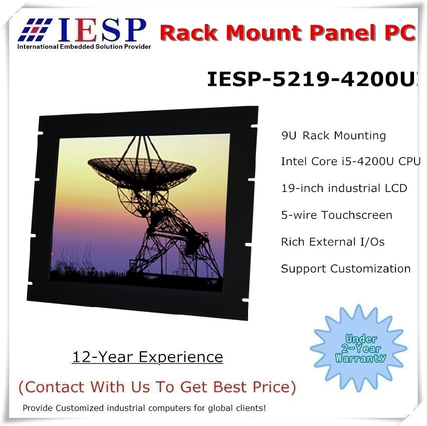 Rack mount Panel PC, 19 inch LCD, Core i5-4200U CPU, 4GB RAM, 500GB HDD, 4*RS232, fanless industrial computer, OEM/ODM