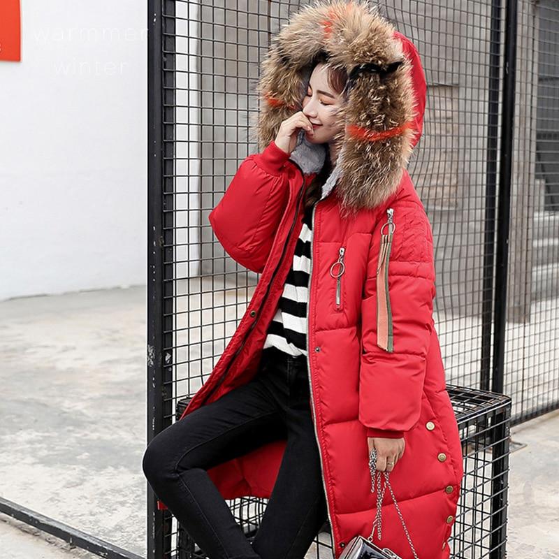 Fashion Thick Warm Women   Parkas   2018 Winter Hooded Furs Long Coat Jacket Female Long Zipper Outwear Casual Button Jackets 3XL