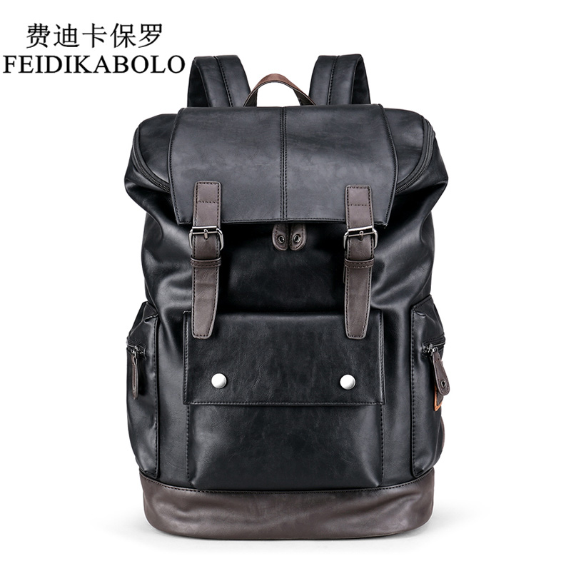 FEIDIKABOLO Travel Casual Men Daypacks Leather Travle Backpack For Simple Patchwork Large Capacity Mens Leather Backpack mochila leather laptop backpack men