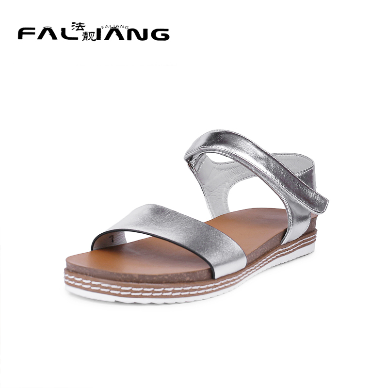 ФОТО 2017 New Genuine Leather Solid Ankle Strap Sandals Big Size 11 12 Concise Flat with women shoes woman ladies womens