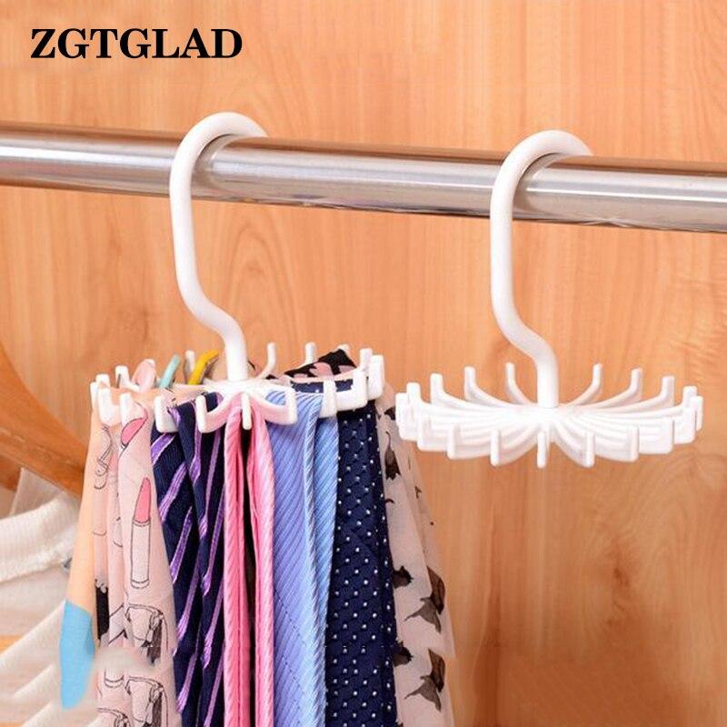 Multifunction White/Black Plastic Tie Rack Rotating Hook Tie Holder 1 Piece Holds 20 Ties/Belts/Scarves Hanger