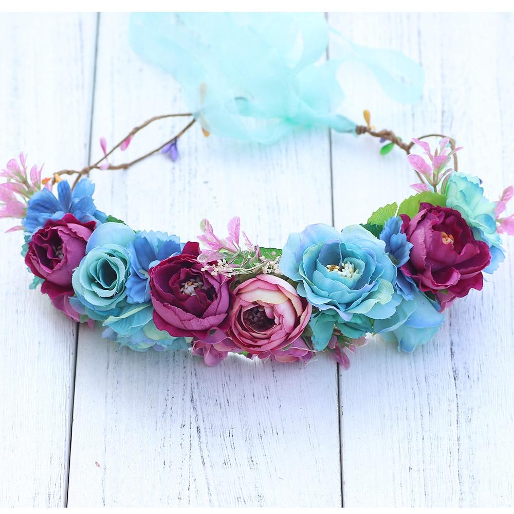 Online Shop Blue Bridal Floral Crown Hair Wreath Breath Dried Flower