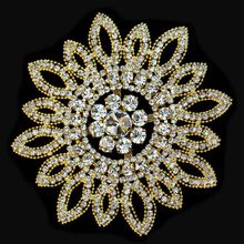 10Pieces Bling Sew On Beaded Crystal Round Flower Rhinestone Applique For Wedding Ornaments Garment Accessories AIWUJIA