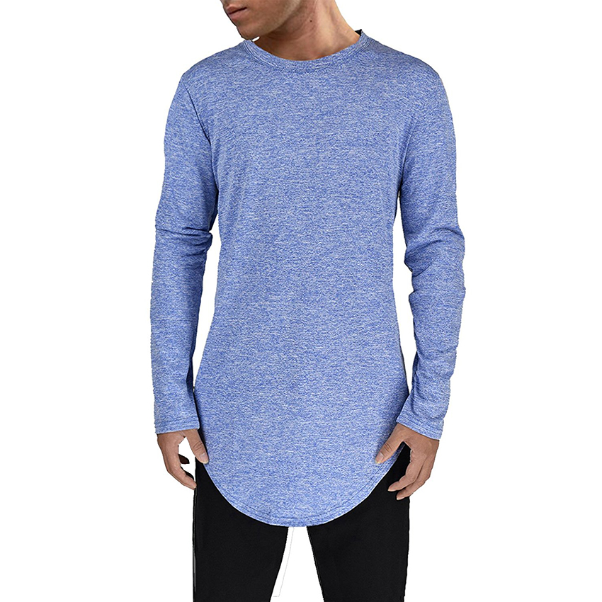 Men t shirt Soft Stretchy Comfortable tee shirt homme top t-shirt Longline curve hem t shirt hip hop fashion t shirt