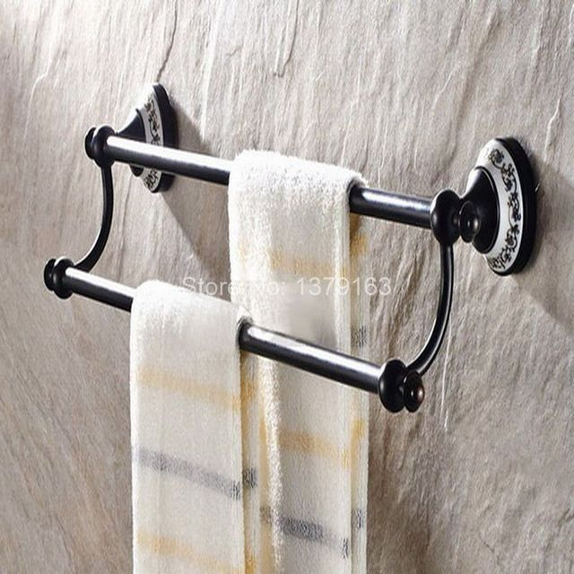 Badzubehör Handtuchhalter badzubehör schwarz öl eingerieben messing keramik blume wand bad