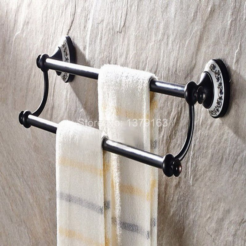 Bathroom Accessory Black Oil Rubbed Brass Ceramic Flower Wall Mounted Bathroom Double Towel Bar Towel Rack Towel Rails aba060 bathroom accessory black oil rubbed bronze toothbrush holder set two ceramic cups wall mounted wba828
