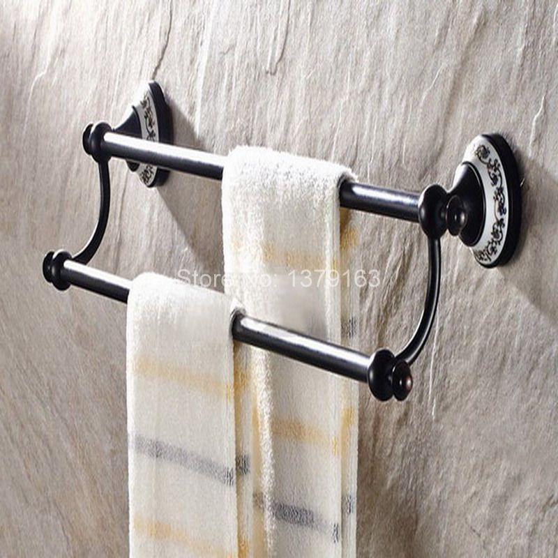 Bathroom Accessory Black Oil Rubbed Brass Ceramic Flower Wall Mounted Bathroom Double Towel Bar Towel Rack Towel Rails aba060 heyner heyner бустер safeup xl