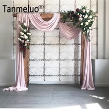 シフォンアーチカーテンパネルセレモニー結婚式の背景カーテン屋外立体裁断ボイルアーバー生地イベントパーティーカーテン装飾