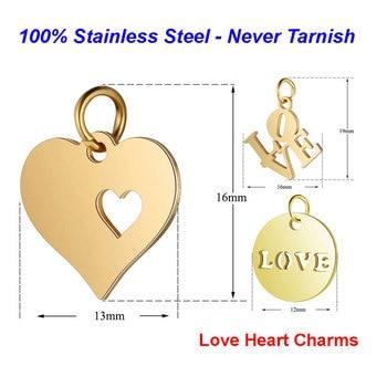 5 unids/lote 316L Acero inoxidable corazón encantos 100% acero hecho a mano Etiqueta de amor diy joyería encontrar suministros collar encanto colgante