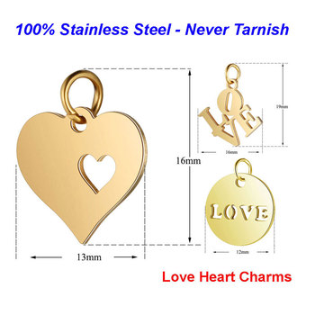 5pcs/lot 316L Stainless Steel Heart Charms 100% Steel Handmade Love Tag diy Jewelry Finding supplies Necklace Charm Pendant
