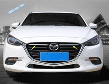Lapetus Car Styling Bright Style Front Grille Grill Decor Strip Cover Trim ABS Fit For Mazda 3 AXELA Hatchback Sedan 2017 2018