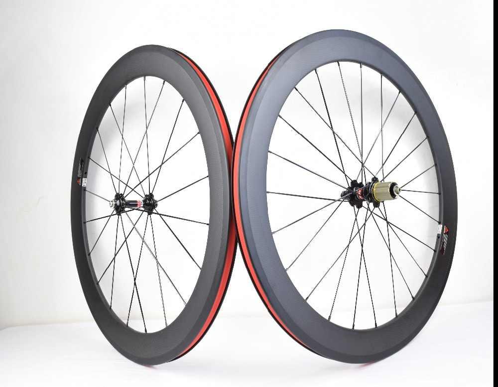 700C ruedas de carbono 38mm 50mm 60mm 88mm ruedas de bicicleta de carretera cubierta o tubular juego de ruedas de carbono